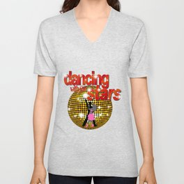 Dancing with the Stars Disco ball Dancers silhouette 2 Unisex V-Neck