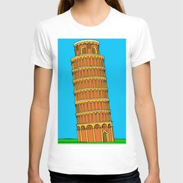 leaning tower of pisa drawing, leaning tower of pisa art, leaning tower of pisa illustration, T-shirt