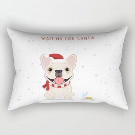 French Bulldog Waiting for Santa - Cream Edition Rectangular Pillow