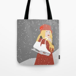 Winter Snow Ice Skater (flat graphics) Tote Bag