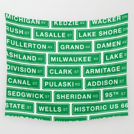 Famous Chicago Streets // Chicago Street Signs Wall Tapestry