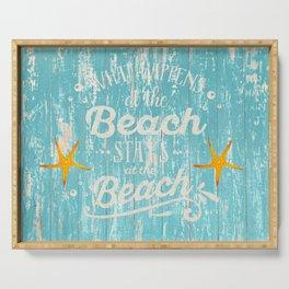 Happy Beach Life- Saying on aqua wood Serving Tray