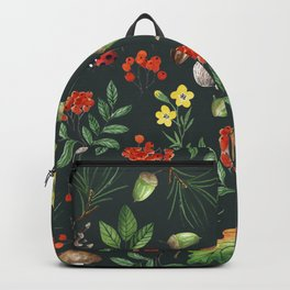 Hand painted pink red green watercolor autumn pattern Backpack