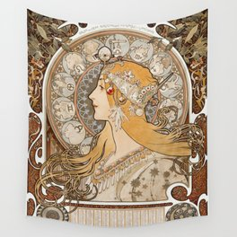 Zodiaque or La Plume (ca 1896-1897) by Alphonse Maria Mucha Wall Tapestry