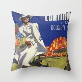 Vintage Italian Alps Cortina summer travel Throw Pillow