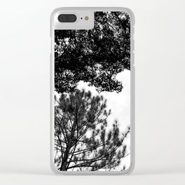 Tree Silhouette Black and White Clear iPhone Case