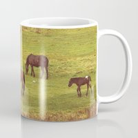 horses Mugs featuring Horses by SensualPatterns
