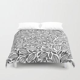 Black and White Botanical Leaf Illustration Duvet Cover
