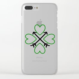 St. Patrick's Day Shamrock Lucky Charm Green Clover Veart with Arrows Clear iPhone Case