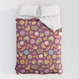 Mexican Sweet Bakery Frenzy // pink background // pastel colors pan dulce Comforters