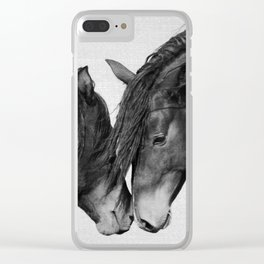 Horses - Black & White 4 Clear iPhone Case