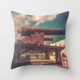 Protectors of Nassau Fort Charlotte Cannon Placement Bahamas Throw Pillow
