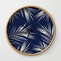 White Gold Palm Leaves on Navy Blue by followmeinstead