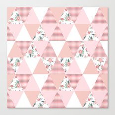 Quilt quilter cheater quilt pattern florals pink and white minimal modern nursery art Canvas Print