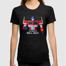 Autobots, Roll out! (Optimus Prime) Womens Fitted Tee Tri-Black SMALL