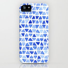 Triangle Watercolor Seamless repeating Pattern - Blue iPhone Case