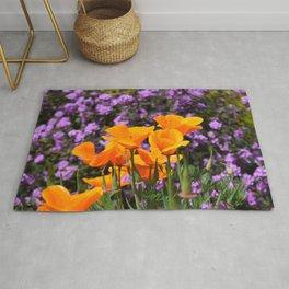 Poppies And Purple Lantana Rug