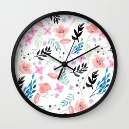 Sweet Floral Watercolor Wall Clock