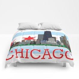Chicago Gold Coast Skyline Illustration Chicago Flag Comforters