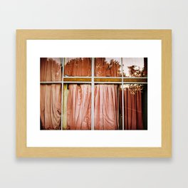 pink curtains Framed Art Print