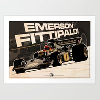 f1 Art Prints featuring Emerson Fittipaldi - F1 1973 by Evan DeCiren