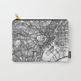 Tokyo Map White Carry-All Pouch