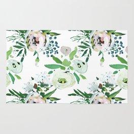 Modern pink teal green watercolor floral Rug