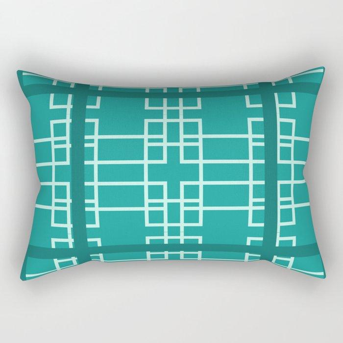Midcentury Modern Geometric Turquoise Rectangular Pillow