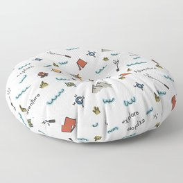 Adventure Pattern | Camping Pattern | Hiking Pattern | Hand Drawn Outdoors Pattern Floor Pillow
