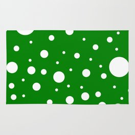 Mixed Polka Dots - White on Green Rug