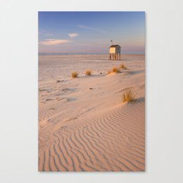 Refuge hut on Terschelling island in The Netherlands at sunset Canvas Print
