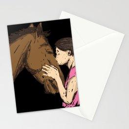 Girl Kissing A Horse Stationery Cards
