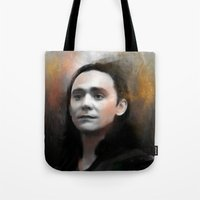 loki Tote Bags featuring Loki by Kate Dunn