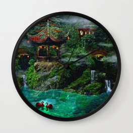 Tale of the Red Swans Wall Clock