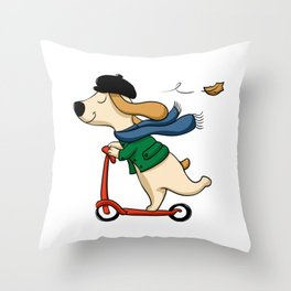 Cute dog on scooter - Cute cartoon Dog riding scooter Throw Pillow