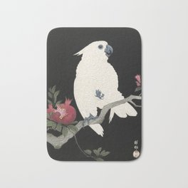 Cockatoo and Pomegranate Japanese Woodcut Bath Mat