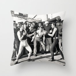 Boxing on a Naval Ship, 1899 Throw Pillow