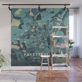 Fayetteville, United States - Cream Blue Wall Mural