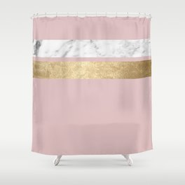 Dusky rose golden marble Shower Curtain