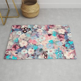 Watercolor Pastel Spring Flowers Rug