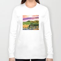 lord of the rings Long Sleeve T-shirts featuring Lord of the Rings Hobbiton by KS Art & Design