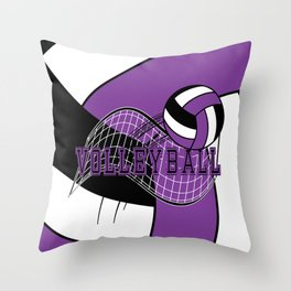 Volleyball Sport Game - Net - Purple Throw Pillow
