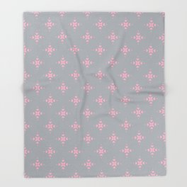 Ornamental Pattern with Grey and Pink Colourway Throw Blanket