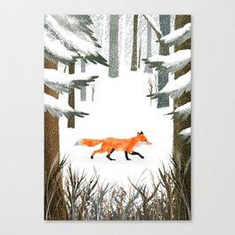 Fox In A Late Winter Snowfall Canvas Print