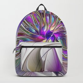 Energetic, Abstract And Colorful Fractal Art Flower Backpack
