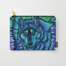 Blue Wolf Aurora Colorful Fantasy Carry-All Pouch
