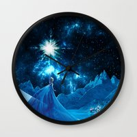 frozen elsa Wall Clocks featuring Frozen - Elsa by Thorin