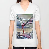 wine V-neck T-shirts featuring red wine by  Agostino Lo Coco