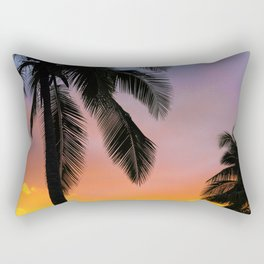 Sunset Silhouette Palm Tree (Color) Rectangular Pillow
