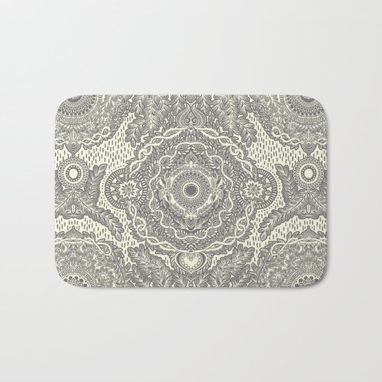 Rain in the Garden - grey and cream Bath Mat